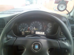 new steering wheel & gadget on dashboard